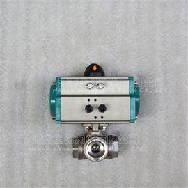 Q614/5F气动不锈钢三通球阀