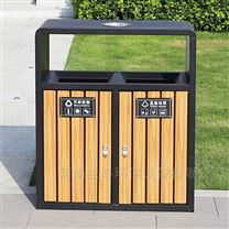新疆钢木垃圾桶工艺|公园分类果皮箱标识