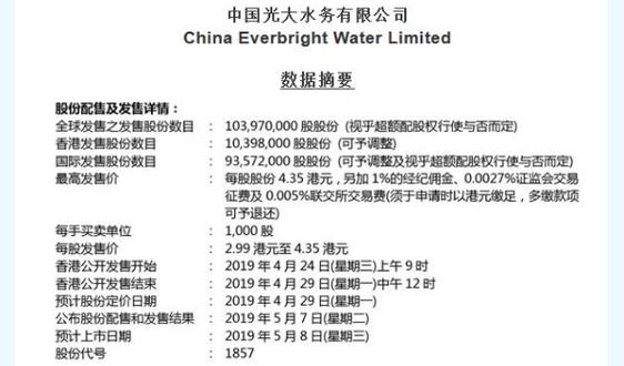 光大水務宣布于香港聯交所主板上市計劃