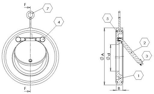 H74X塑料对夹式止回阀结构图1