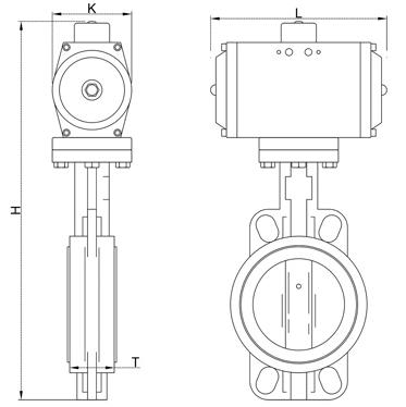 气动软密封碟阀结构图1