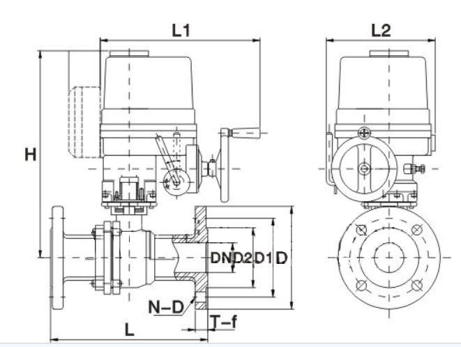 防爆电动衬氟球阀结构图
