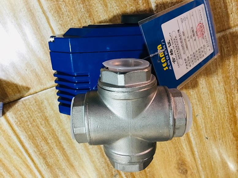 中美合资森玛生产电动丝口四通换向球阀Q916F-16P交付华北水电大学。
